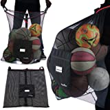 Athletico Extra Large Ball Bag - Mesh Soccer Ball Bag - Heavy Duty Drawstring Bags Hold Equipment for Sports Including Basket