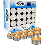 Hyoola Tea Lights Candles - 400 Bulk Candles Pack - Natural Palm Oil Tea Light - European Quality White Unscented Tealight Ca
