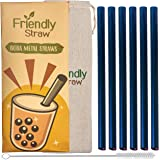 Friendly Straw 6 Pack 26.7 x 1.3 cm Reusable Boba Bubble Tea Metal Straws, 6 Straight Tipped Stainless Steel Jumbo Drinking S