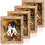 iRahmen 4 Pack 8x10 Rustic Picture Frame Set with High Definition Glass Photo Frame for Desktop Display and Wall Mounting (IR