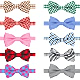 BANMODER Dog Bow Ties,10pcs Adjustable Cat Bowtie Collar,Bow Tie Dog Collar for Small Mediun Large Dogs and Adult Cats