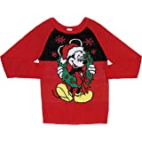 Disney Mickey Mouse with Christmas Wreath Women's Junior's Sweater Red