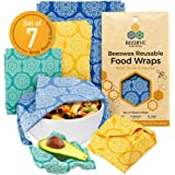 BEEHIVE Reusable Beeswax Food Wraps – 7 Pack Organic Food Wrap for Bread & Sandwich Wrapping – Eco Friendly, Sustainable & Ze