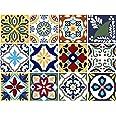 BRIKETO Talavera Decorative Tile Stickers Set 12 Units 6x6 inches. Peel & Stick Vinyl Tiles. Backsplash. Home Decor. Furnitur