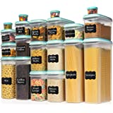 LARGEST Set of 40 Pc Food Storage Containers (20 Container Set) Shazo Airtight Dry Food Space Saver w Interchangeable Lid, La