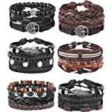 Milacolato 26Pcs Woven Braided Leather Bracelet for Men Women Hemp Cords Wood Beads Cuff Bracelets Adjustable