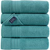 Hammam Linen Highly Absorbent Hotel Spa Collection Bath Towels Turkish Cotton, Cotton, Water Green, 4 Bath Towels