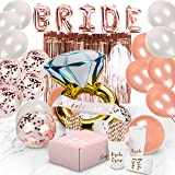 Bachelorette Party Decorations | Bridal Shower Supplies Kit - Bride to Be Sash, Cups, Straws, Veil, Banner, Balloons, Rose Go