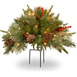 National Tree 18 Inch Feel Real Colonial Urn Filler with Cones, Red Berries, Tripod Stake and 35 Warm White Battery Operated