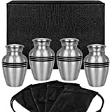 Grace and Mercy Pewter Small Keepsake Urn for Human Ashes - Set of 4 - Beautiful Humble and Comforting Quality Sharing Urns f