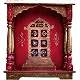 Wood Temple , Puja Mandir, Temple for Home, Pooja Mandir, Pooja Mandir for home with swastika, made with Wood and with Decora