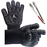 BBQ Gloves pair with 14 inch TONG EN407 Certified Extreme temperature resistant with Silicone Lining For Anti Slip and Aramid