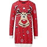 Camii Mia Women's Long Xmas Party Crew Neck Ugly Christmas Sweater Dress