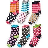 Jefferies Socks Little Girls Dots/Hearts/Stripes Fashion Crew Socks 6 Pairs Pack