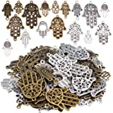 Hamsa Hand Charms, 120g(About 51 Pieces) Hand of Fatima Symbol Charms Pendants Hamsa Hand Beads for Jewelry Making Findings D