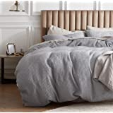 Bedsure 100% Cotton Waffle Weave Duvet Cover Set King Size, 3 Pieces Luxury Comforter Cover, Solid Color Soft and Breathable
