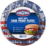 """Kingsford Grilling BB11483 Heavy Duty 10"""" Round Paper Plates, 35 Count, American Flag"""
