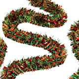 50 Feet Christmas Tinsel Garland Metallic Twist Garland Xmas Tree Decorations Red, Green and Gold Birthday Wedding New Year H