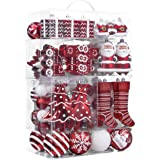 Valery Madelyn 155ct Traditional Shatterproof Christmas Ball Ornaments Decoration Red and White,1.18Inch-6.5Inch,Themed with