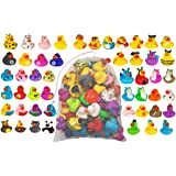 Kicko Assorted Rubber Ducks with Mesh Bag - 51 Pack - 2 Inches - for Kids, Sensory Play, Stress Relief, Novelty, Stocking Stu
