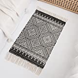 Styled World Cotton Boho Rug with Rug Pad   Hand Woven Decorative Bohemian Rug with Tassels   Bathroom, Bedroom, Entryway Rug