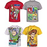 Disney Pixar Toy Story Boys 4 Pack T-Shirts Woody Buzz Lightyear Rex Slinky Dog