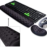 BRILA Memory Foam Mouse & Keyboard Wrist Rest Support Pad Cushion Set for Computer, Laptop, Office Work, PC Gaming - Massage