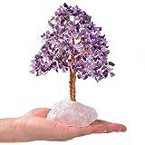 KALIFANO Premium Natural Amethyst (414 Gemstone Count) Chakra Crystal Tree with Rose Quartz Base with Healing Properties - Bo