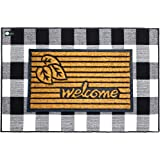"""Layered Welcome Mats for Front Door -Large Premium Set- Durable Rubber Coir Doormat 18x30"""" & Buffalo Plaid Rug 32x48"""", Super-"""