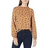 Goodthreads Amazon Brand Women's Fluid Twill Relaxed Fit Long Sleeve High Neck Woven Shirt