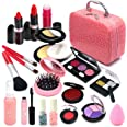 Senrokes Pretend Makeup Kit Cosmetic Toy Fake Play Rubber Makeup Set with Cosmetic Bag for Girls, Safe & Non-Toxic Toy Makeup