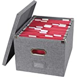 ATBAY File Storage Box Collapsible Large Capacity Office File Organizer for Letter/Legal Size Hanging File Folder Box, Gray 1