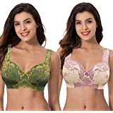 Curve Muse Women's Plus Size Minimizer Unlined Wireless Lace Full Coverage Bras