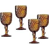 Godinger Owl Goblet Drinking Glass in Amber - Set of Four