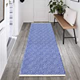 HEBE Extra Long Cotton Area Rug Runner 2'x6' Reversible Hand Woven Cotton Throw Rug Floor Mat Carpet Runner for Kitchen Bedro