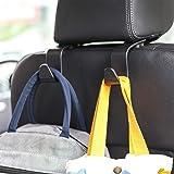 Amooca Car Seat Headrest Hook 4 Pack Hanger Storage Organizer Universal for Handbag Purse Coat fit Universal Vehicle Car Blac
