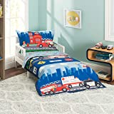 Everyday Kids 4 Piece Toddler Bedding Set -Fire and Police Rescue- Includes Comforter Flat Sheet Fitted Sheet and Reversible