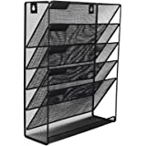 EasyPAG Mesh Wall File Holder 5 Tier Vertical Mount/Hanging Organizer with Bottom Flat Tray,Black