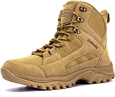 [Ansbowey] トレッキングシューズ メンズ ブーツ ミリタリー レディース 登山靴 サバゲー タクティカル コンバット ジャングル アウトドア YKK製サイドジップ 通気性 防滑 耐摩耗性 厚底 幅広 男女兼用