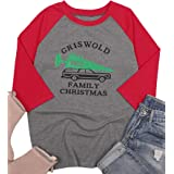 Women T Shirt Griswold Family Christmas Truck Tree Shirt Top Raglan Sleeve 3/4 Sleeve Funny Xmas Baseball Tee Festival Shirt