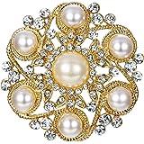 EVER FAITH Wedding Corsage Clear Rhinestone Crystal Simulated Pearl Leaf Flower Wedding Brooch
