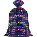 """Hallmark 56"""" Large Plastic Gift Bag (Blue Happy Birthday) for Birthdays, Kids Parties and More"""