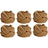 Kaizen Casa Set of 6 Classic Braided Jute Burlap Napkin Rings (Cream, 6)