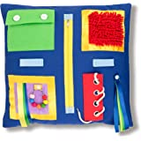 """2-Sided Fidget Sensory Blanket for Adults with Dementia 19.5x19.5"""". Activities Pad to Aid Alzheimer's, Autism, Asperger's Imp"""