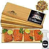 Grilling Planks Set - 8 Natural 100% Cedar Boards, Amazing Cedar Aroma, For Salmon, Shrimp, Fish, Vegetables, Apple Chips For