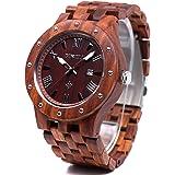 Bewell 木製腕時計 メンズ ウッドウォッチ 腕時計 カレンダー付き 夜光 天然木 クオーツウォッチ アナログ腕時計 男性用 軽量防水(赤檀)