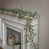 LITBLOOM Lighted Olive Garland 6FT 48 LED Battery Operated with Timer Artificial Greenery Twig Vine Lights for Wedding Party