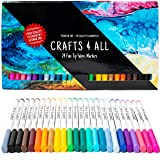 Fabric Markers Pens Permanent Color Art Markers 24 Set Premium Graffiti Fine Tip Minimal Bleed By Crafts 4 All .Child Safe &