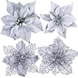 24 Pcs 4 Styles Christmas Silver Metallic Mesh Glitter Artificial Poinsettia Flower Stems Tree Ornaments in Box for White Sil