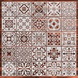 YUEAON 25-Pack (6x6 Inch) Painting Stencils for Floor Wall Tile Fabric Wood Burning Art&Craft Supplies Mandala Template-reuse